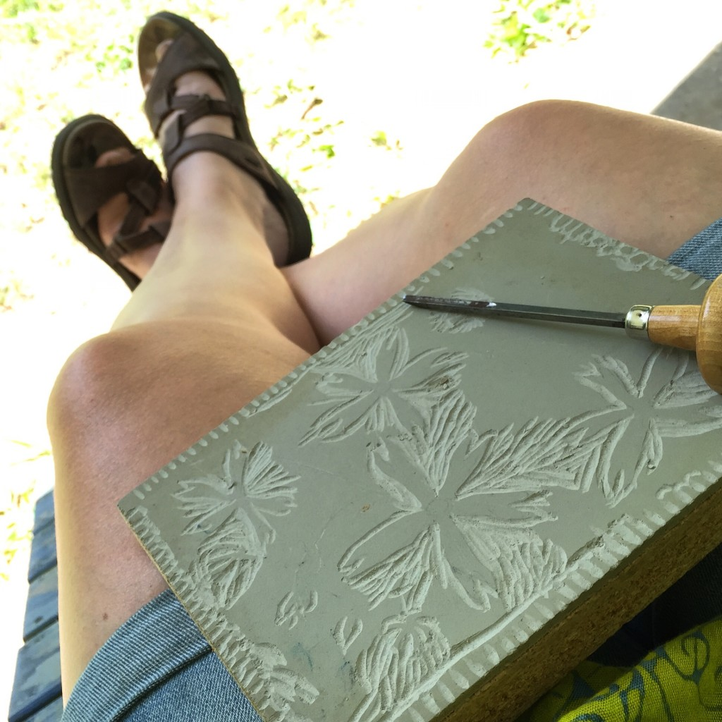 Carving a Linoleum Block of Fire Pinks, a NC wildflower