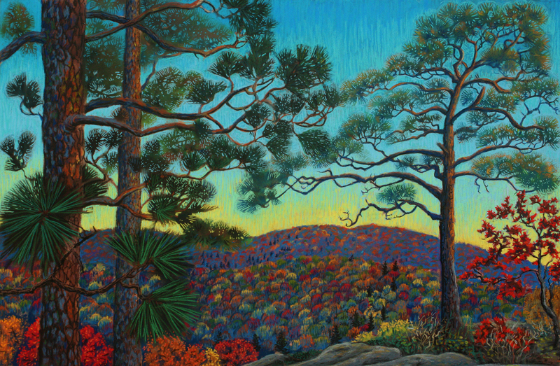 Dusk on the Escarpment, pastel painting by Stephanie Thomas Berry celebrating the Porcupine Mountains Wilderness Park
