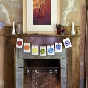 The Hearth in my Studio, with Plaster Walls and Rainbow of Mandalas